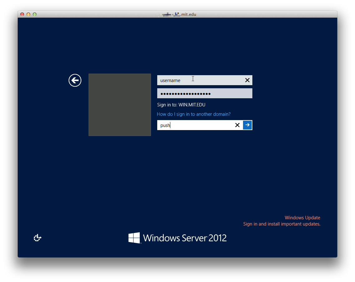 Example of Windows login screen with push in the Duo Password field.