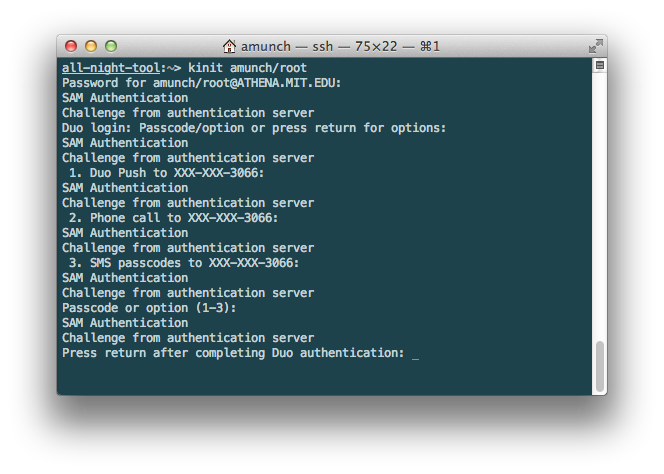 Terminal with prompt 'Press return after completing Duo authentication.'