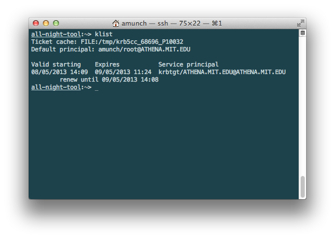 Terminal with output of Kerberos tickets from running the command 'klist'.