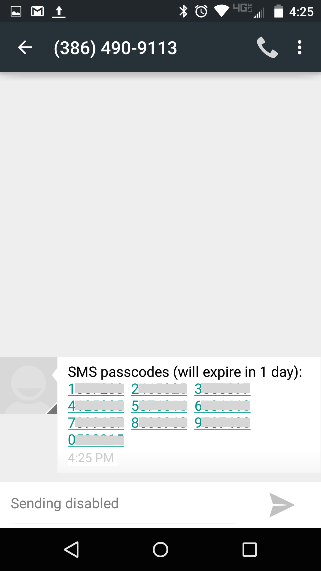 Mobile texting client with received passcodes.