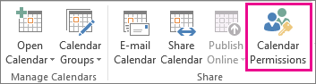 Calendar Permissions in Home Tab