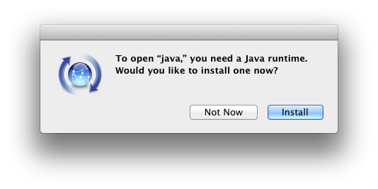 Java runtime message