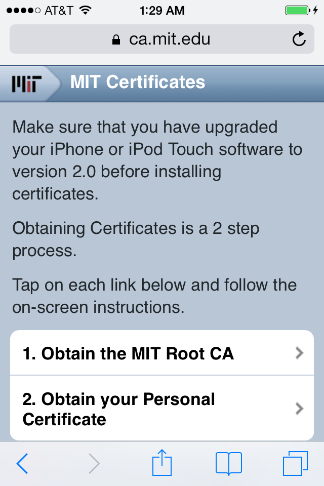 Mobile Certificates Select page
