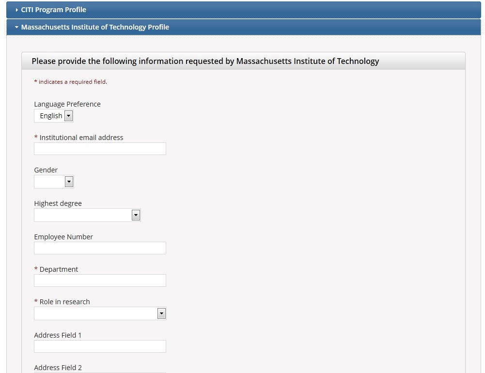 Massachusetts Institute of Technology profile is open.  Prompt is displayed to fill in the empty text boxes with the required information to complete the profile.