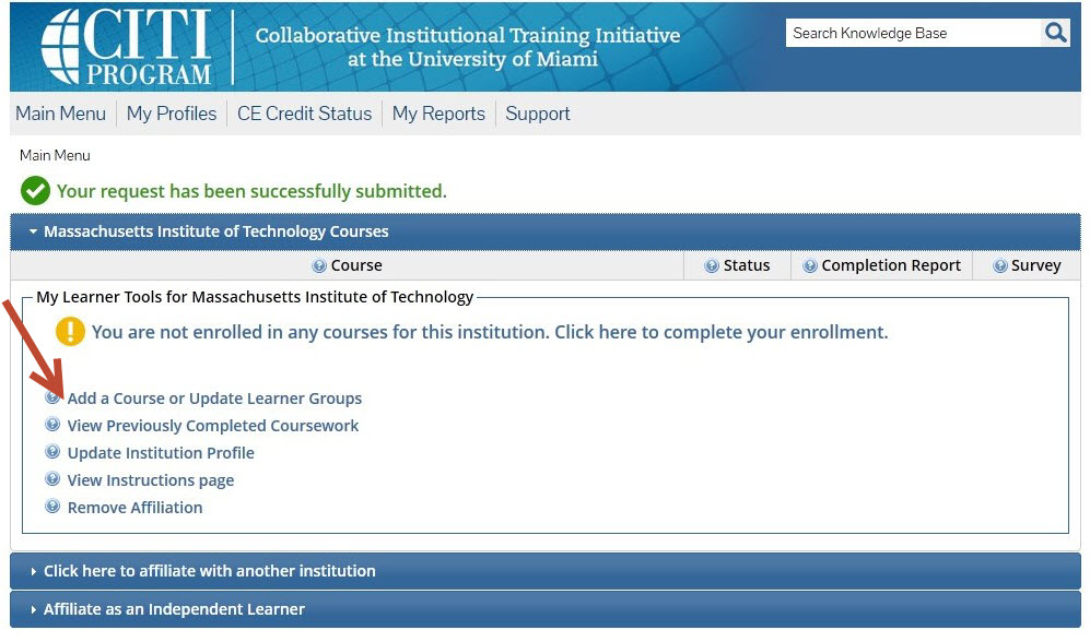 Massachusetts Institute of Technology Courses tab is open with several options.  The first one reads 'Add a Course or Update Learner Groups'