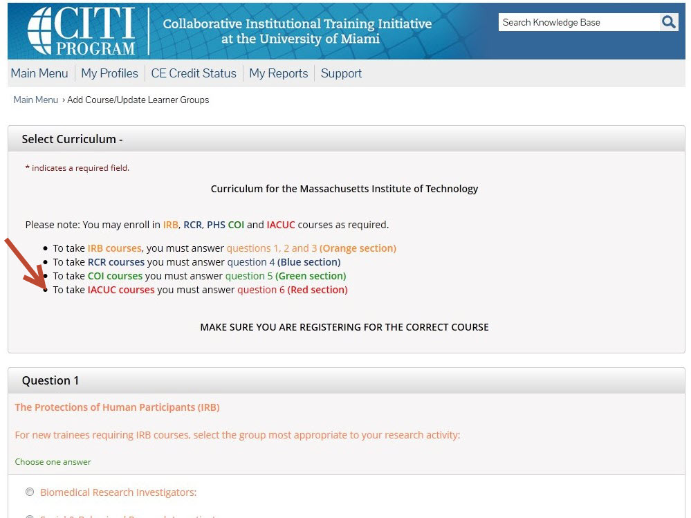 """'Select Curriculum page.  Instructions for selecting course appear at the top.  In order to register for the IACUC courses"