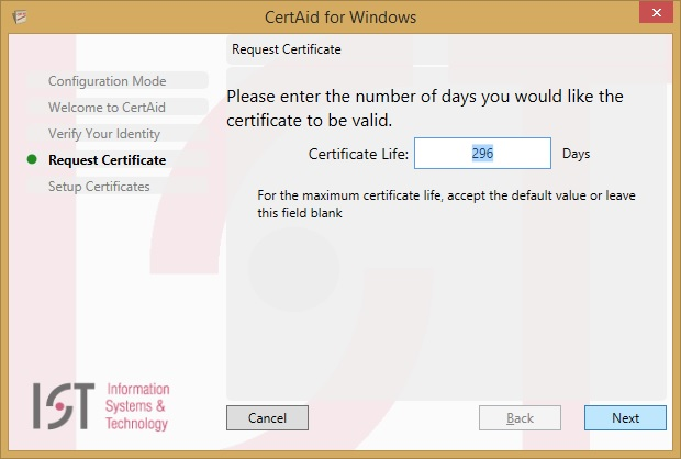 request certificate screen