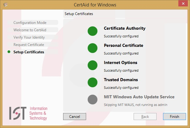 install your certificates screen