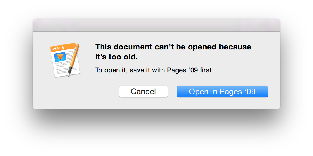 iWork - This document can't be opened because it's too old