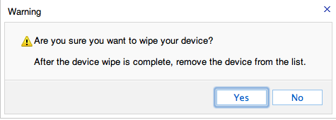Confirm device wipe