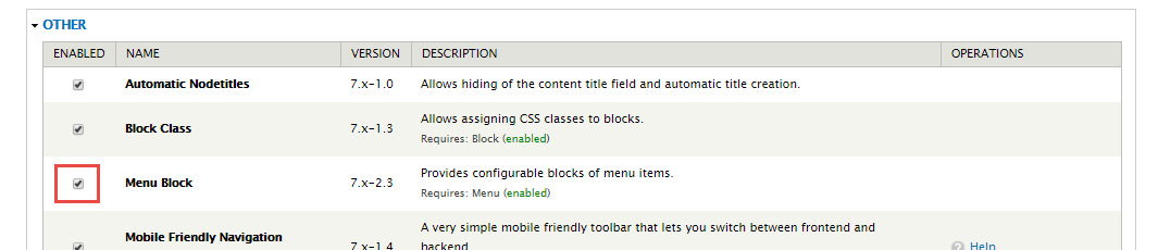 enable menu block module