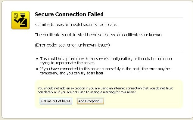 Secure connection error screen