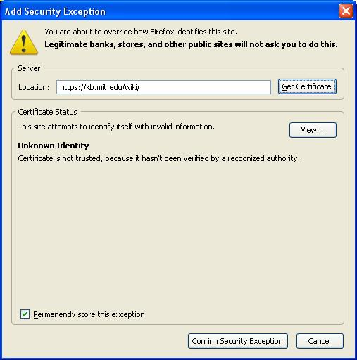Add security exception for server