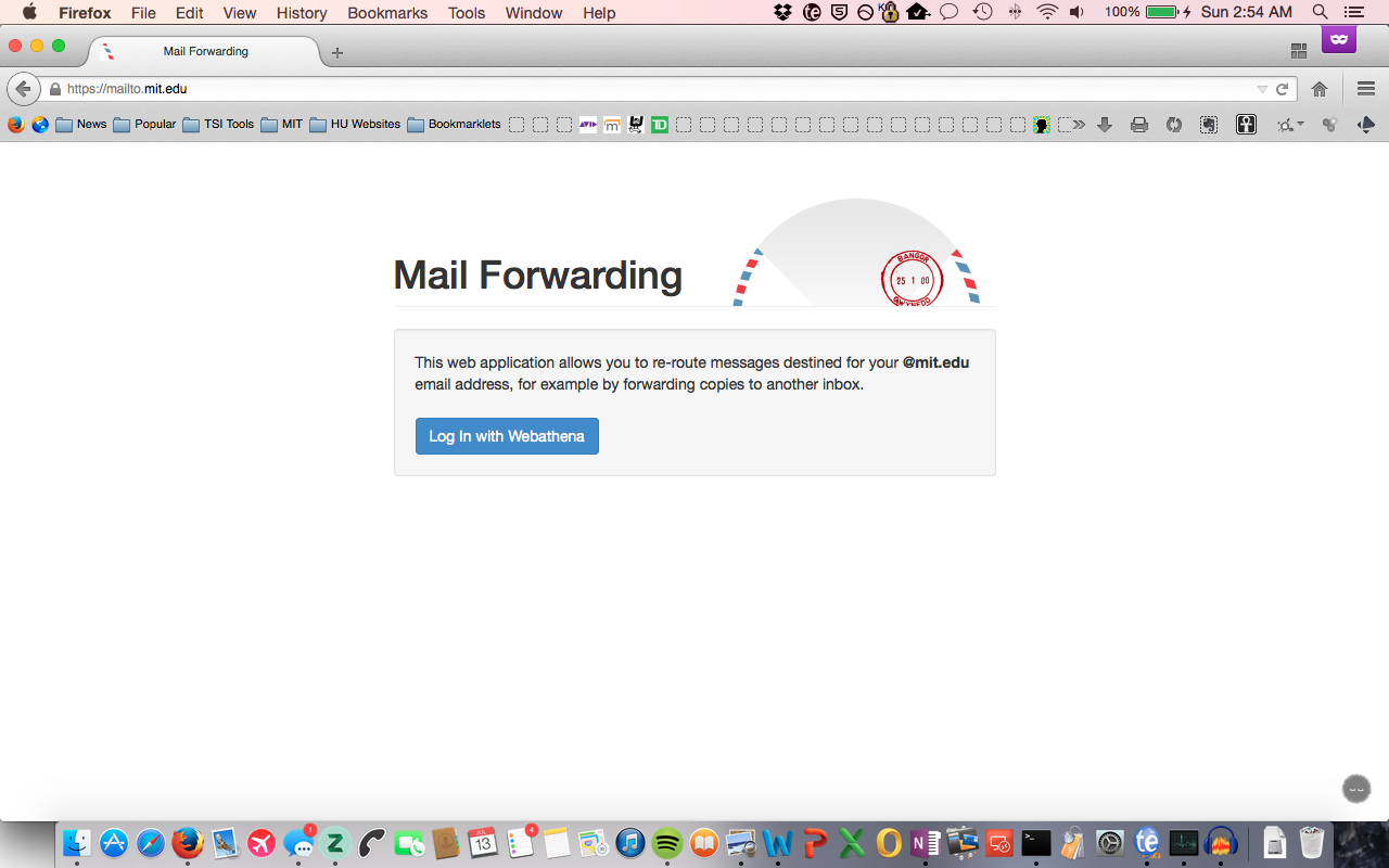 Mail Forwarding home page.
