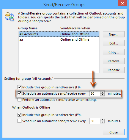 How do I change the time interval that Outlook automatically