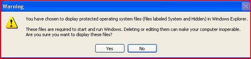 Display operating system files message