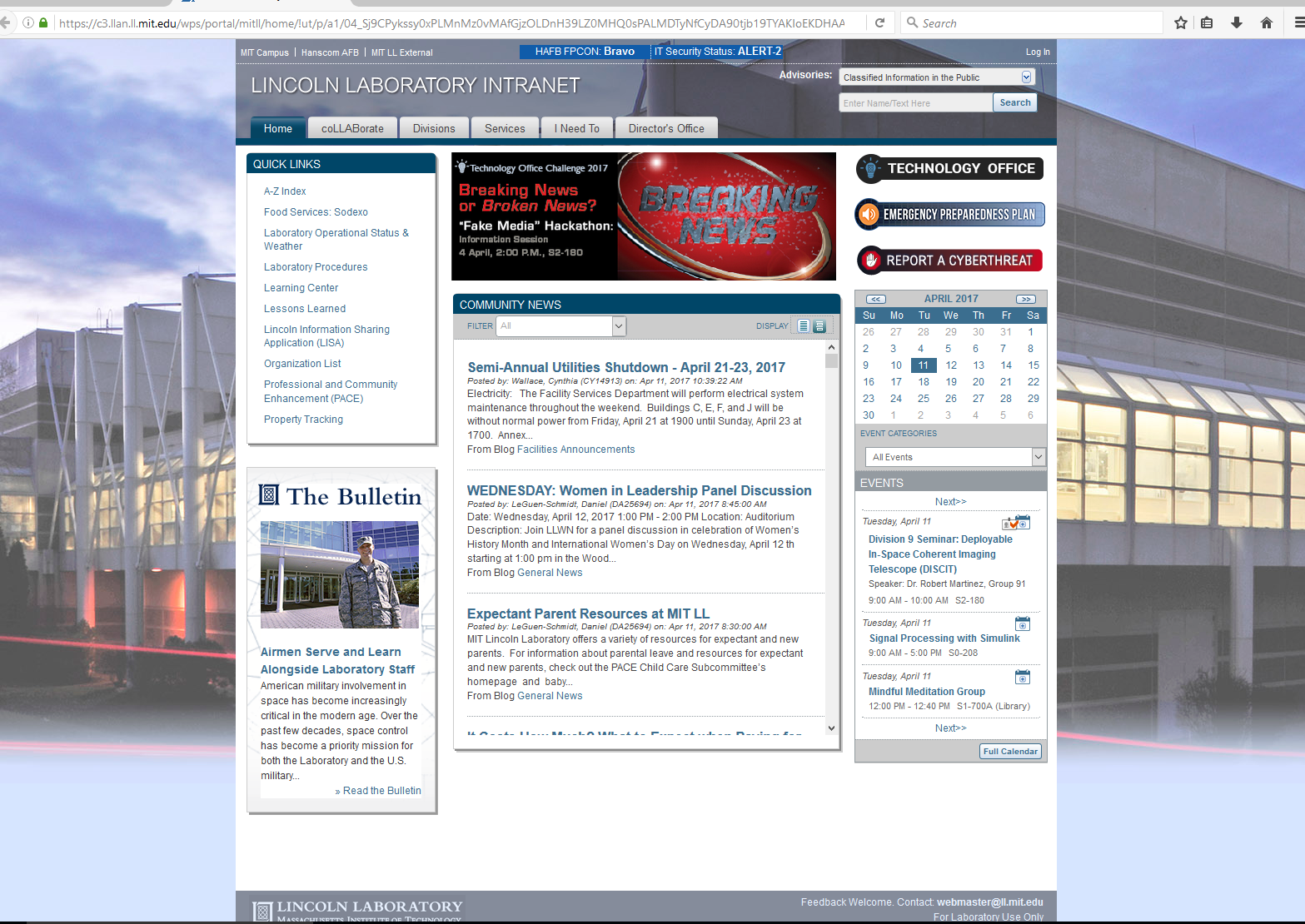 Lincoln Lab Intranet