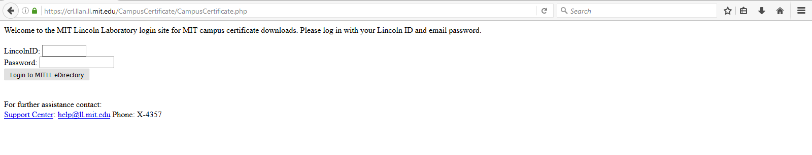 Login prompt with Lincoln credentials
