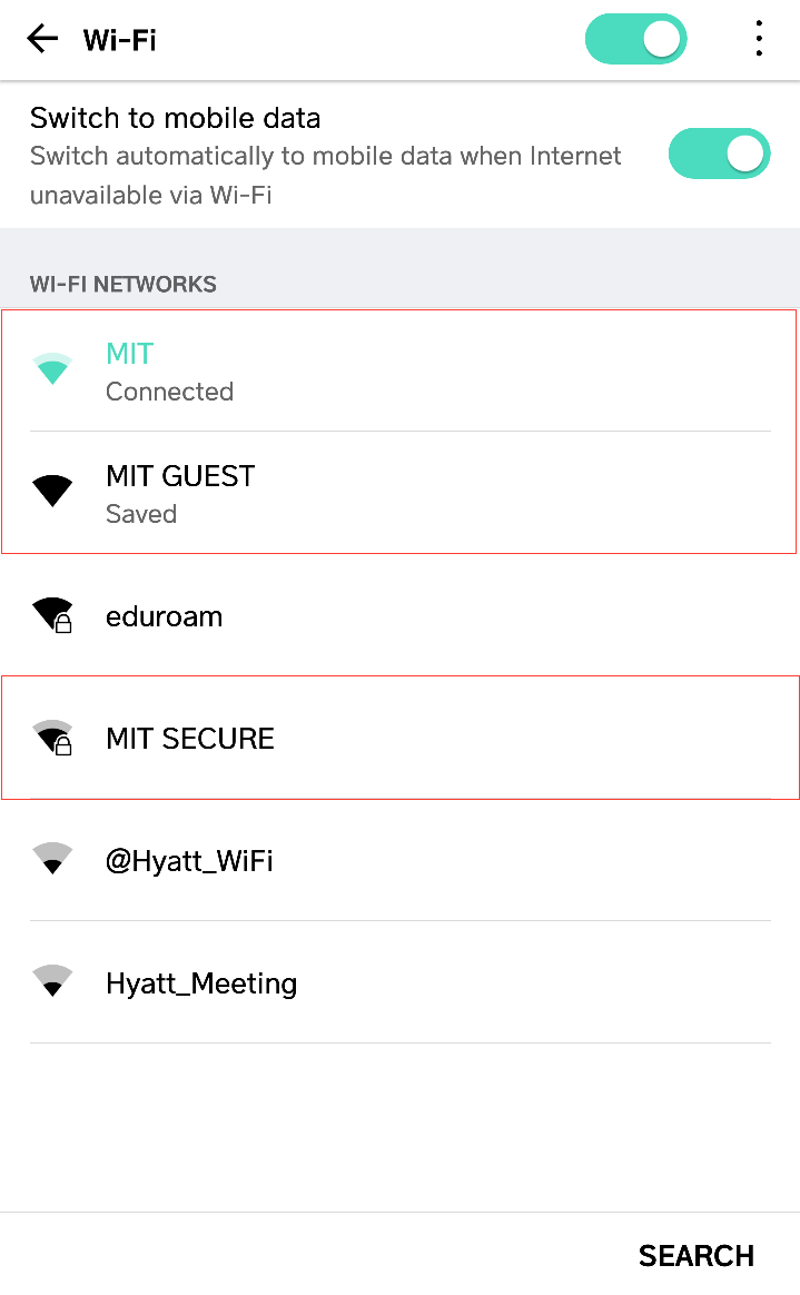 Example Android phone Wi-Fi selection page