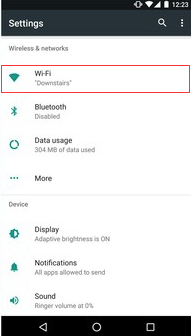 Example Android phone settings page